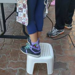 Getting a boost with the step stool