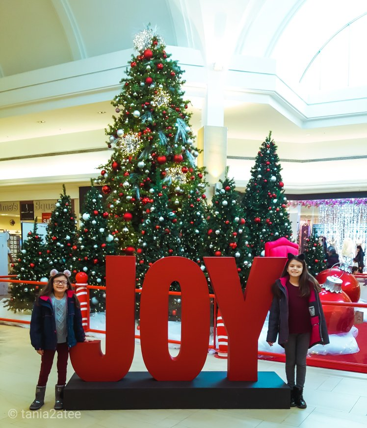 Sisters standing with giant JOY sign: tania2atee